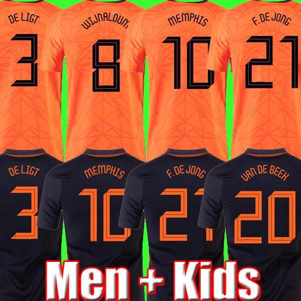 Thaïlande HOLLAND football Jersey Netherlands MEMPHIS DE JONG 21 22 DE LIGT WIJNALDUM VIRGIL 2021 Pays-Bas maillots de football hommes kit enfants Chaussettes