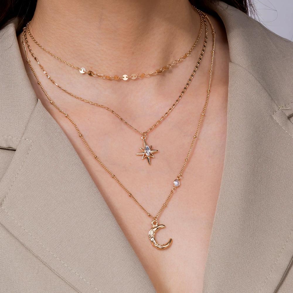متعدد الطبقات الكريستال القمر القلائد المعلقات للنساء خمر سحر الذهب المختنق قلادة البوهيمي المجوهرات بالجملة