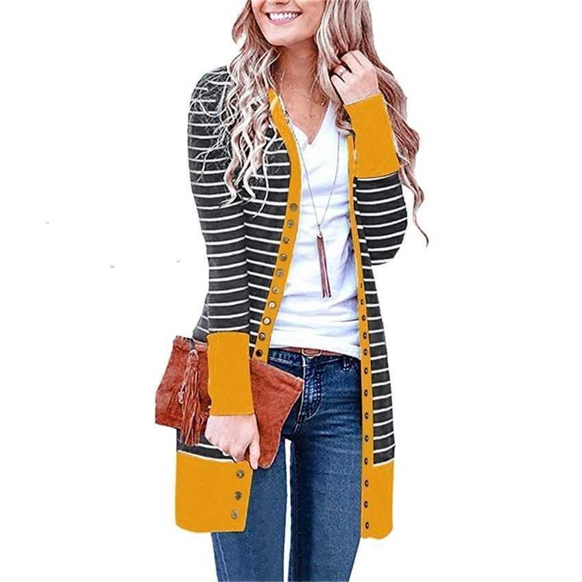 Herbst Winter Frauenhülse Gestrickte Polyester Lange Gestreifte Strickjacke Beiläufige Lose Pullover Plus Größe