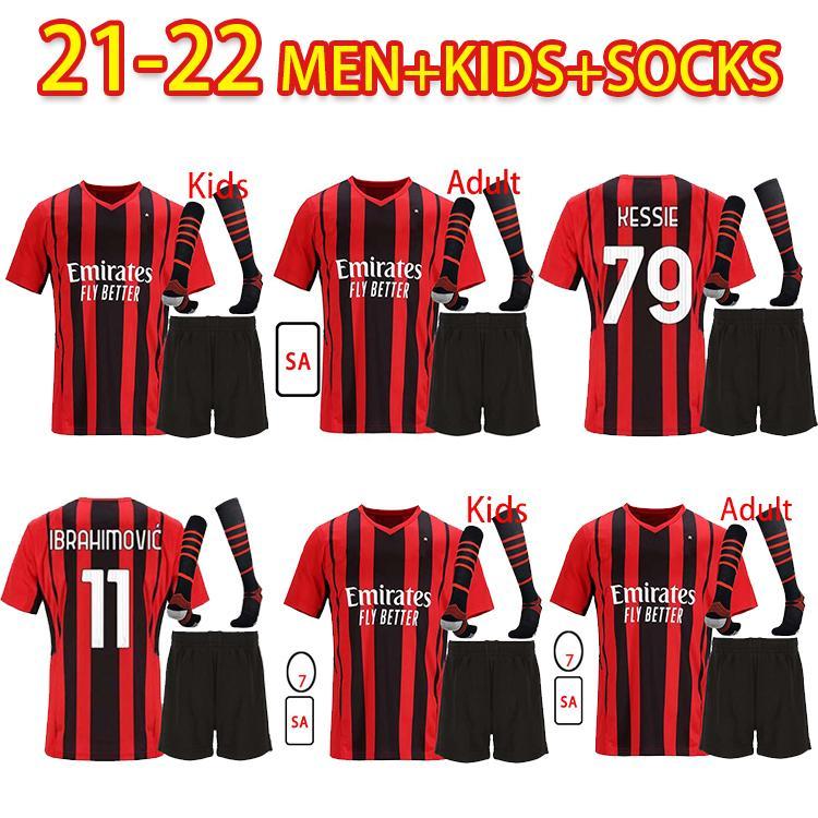 AC MILAN 21 22 Jersey de fútbol Ibrahimovic Brahim Bennacer Kessie Romagnoli Calhanoglu 2021 2022 Camisa de fútbol Tonali Rebic Maillot Men + Kits Kit Socks