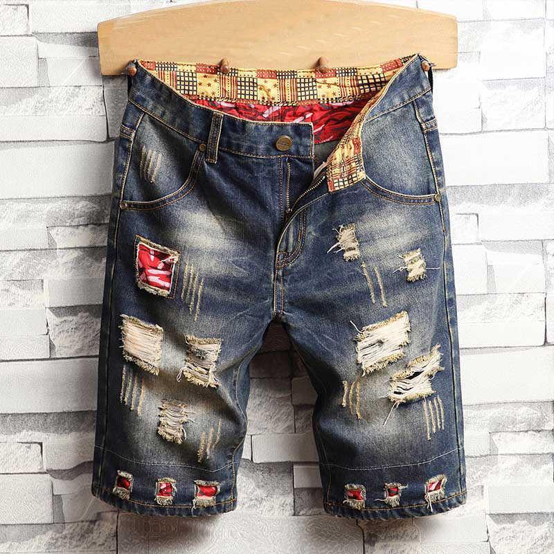 Marka Jeans Kısa Erkekler Yırtık Erkek Giyim Bermuda Pamuk Şort Nefes Denim Şort Moda Boyutu 28-40 Yeni X0601