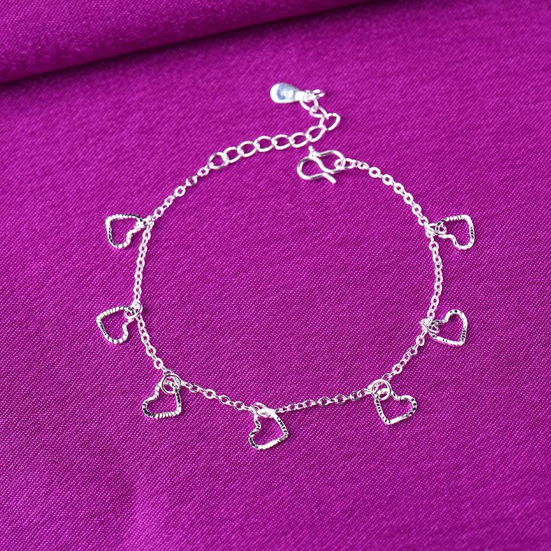 Link, Chain 925 Sterling Silver Tassel Heart Charm Bracelets Link Adjustable Anklet For Women Party Wedding Jewelry A186