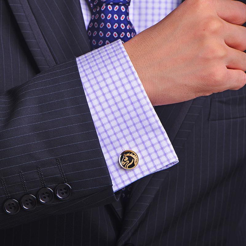Kflk chemise française boutons boutons de manchette pour hommes de branche de marque pour hommes Liens de mariage de luxe boutons d'or-couleur haute qualité chevaux invités