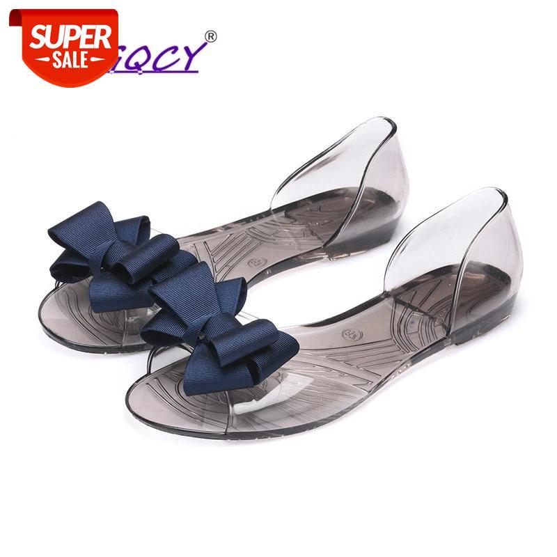 Butterfly-knot Peep Toe sandals women 2019 spring summer shoes flat Crystal jelly Sweet Transparent Pregnant #6I7G