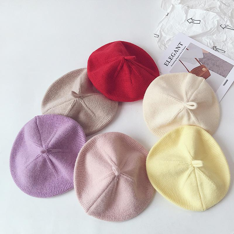 Fashion Knit Beret Multicolor Children Baby Hats Autumn Winter Styling Accessories Hipster Painter Hat For Girls Kids Bonnet 931 Y2