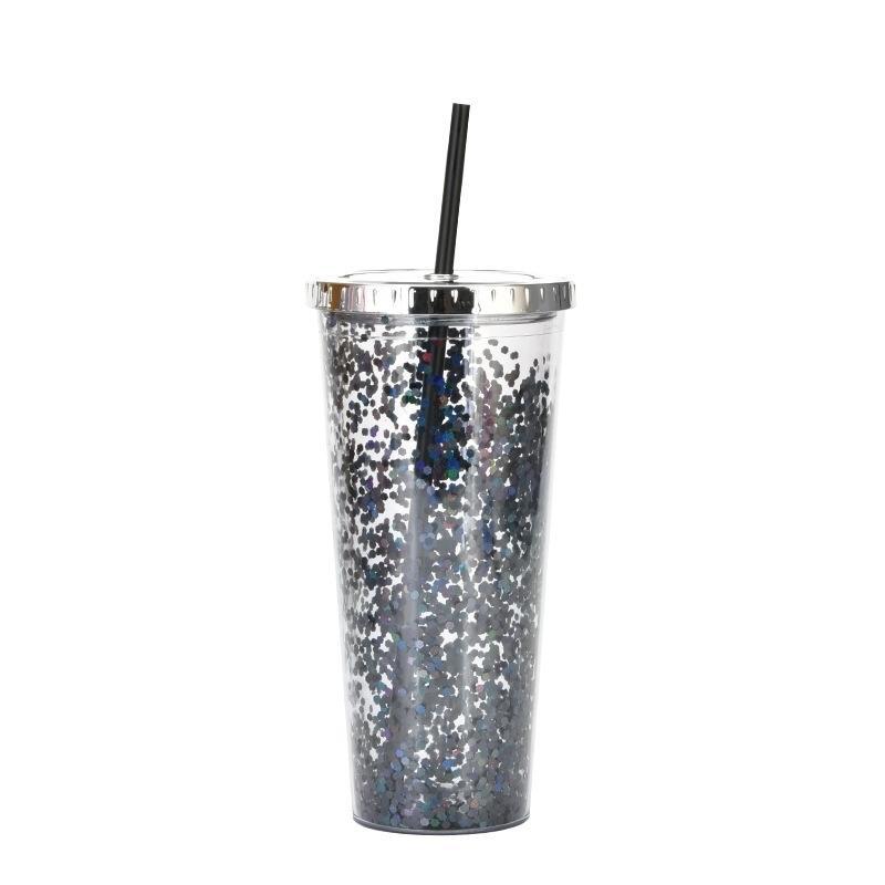 Sippy tazze da 24 once di plastica tazza di paglia flash polvere acqua tazza di acqua fredda bevanda elettrica copertura elettroplatante doppio strato sequin decorazione EEB6588