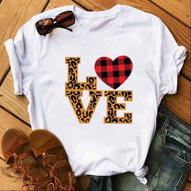 Frauen Womens Tops Liebe Leopard Plaid Graphic Weibliche Druck Valentinstag Tag Top Kleidung Dame Damen T Shirts Shirts Hemden