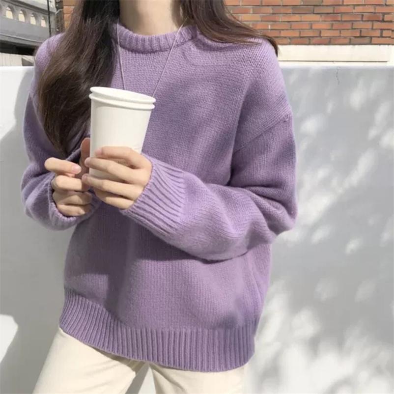 Roupas de inverno suéteres doces para mulheres O-pescoço de manga comprida de malha pulloves pull femme solto cor sólido Sueter revestimento 210506