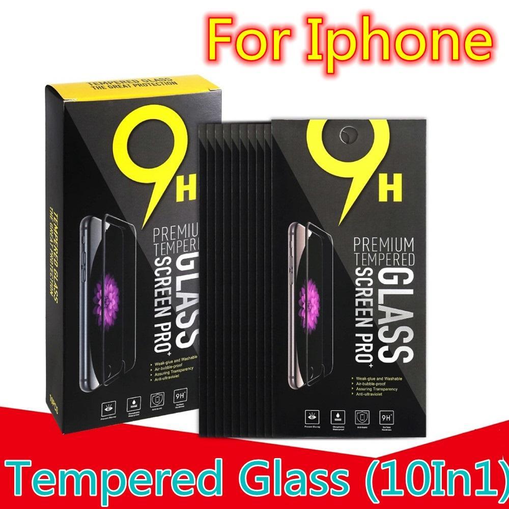 10 in1 protetor de tela de vidro temperado para iphone 6 7 8 mais x xr xs 11 12 13 mini pro max samsung telefone android com caixa de varejo