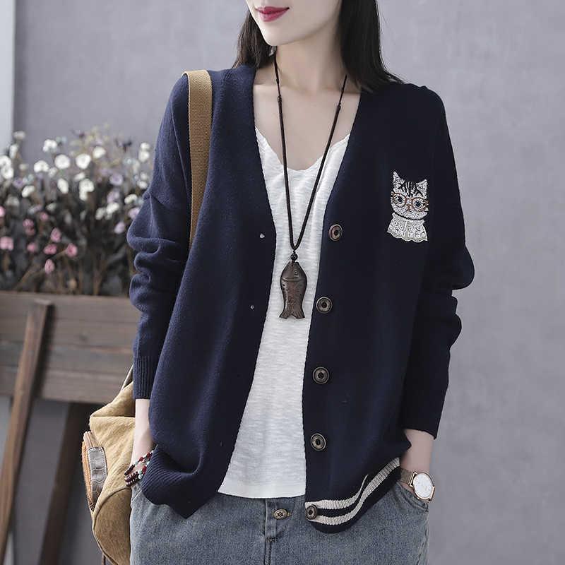 Vêtements pour femmes de printemps et d'automne Nouveau manteau de chandail Cardigan Y0825