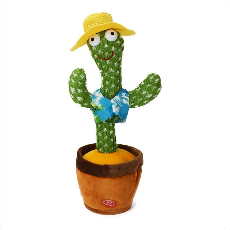 Dancing Cactus Dolls Plush Toy Electric Singing 120 Songs Twisting Luminous Recording Learning To Speak USB Charger Birthday Gifts Creative Ornaments B7807