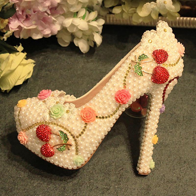 Dress Shoes Womens Wedding White Pearl Flowers Crystal Decor Pumps Round Toe Sexy Bride Princess High Heels Female Rhinestone