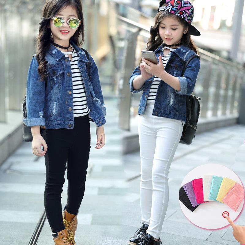봄 여자 레깅스 아기 소녀 옷 연필 바지 캔디 색상 아이들을위한 아이 바지 레깅스 3-12 년 2491 Q2