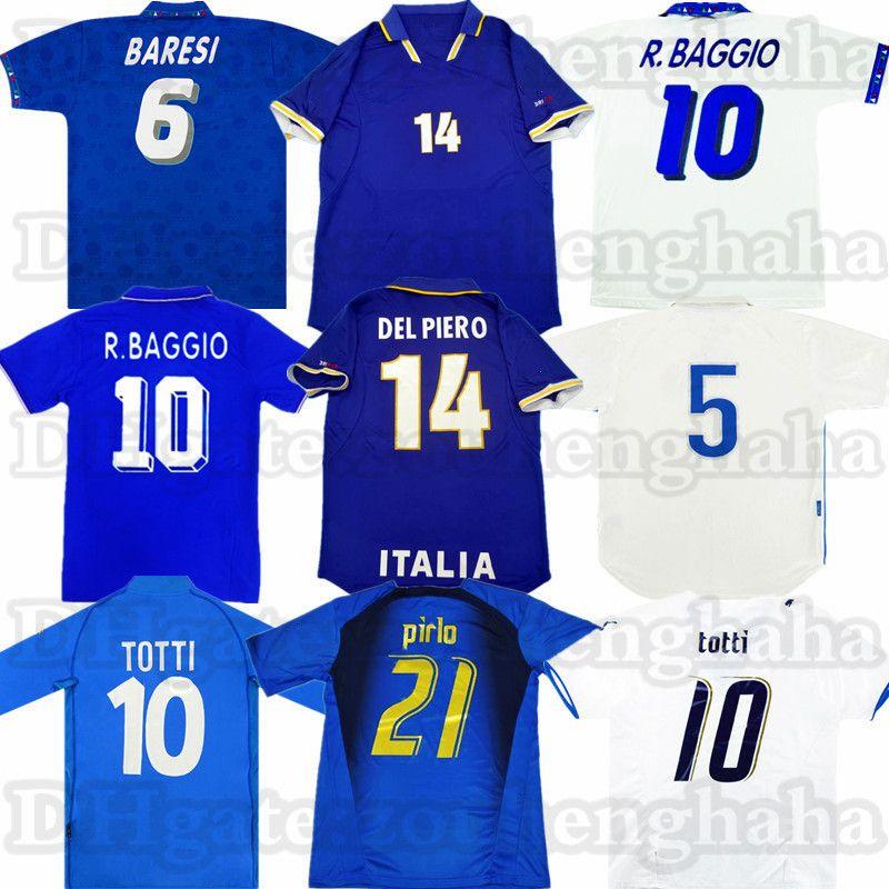 Retro ITÁLIA R.Baggio Classic Soccer Jersey Del Piero 82 90 94 96 98 2006 Maldini Totti Pirlo Rossi Camisa Antiga de Futebol