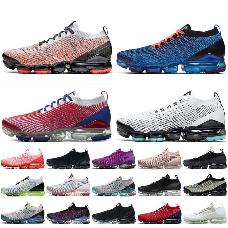 Nike Air Vapormax Flyknit Top Qualität Frauen Herren Laufschuhe Trainer Helle Mango Blau Fury Triple Black White Off USA Sport Turnschuhe