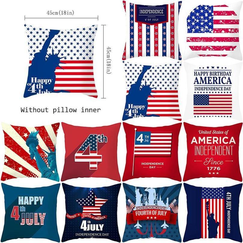 American Independence Day Federa Peluche Stampa Digitale Pillow Cover Decorazione domestica Cuscino per auto Codice cuscino 45 * 45 cm