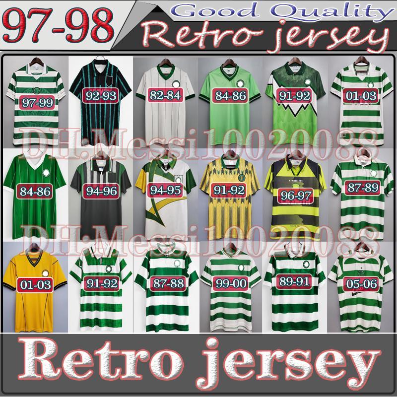 1982 1988 1986 1989 1989 Celtic Retro Soccer Jerseys 1991 1992 1998 1999 Camicie da calcio Larsson Classic Vintage Sutton 1995 1997 Uniformi manica lunga