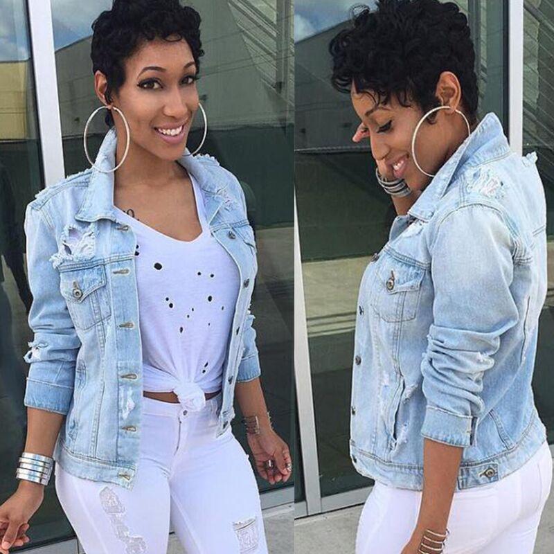 Frauen Herbst Mode Plus Größe Jeans Jacken Beiläufige Streetwear Lady Denim gebrochene lose Stil weibliche Grundmäntel