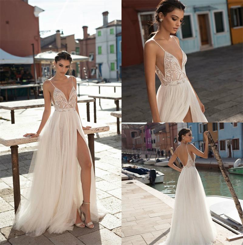 Gali Karten Beach Свадебные платья Длинные Богемия Высокий разделить линию Сексуальное глубокое V-образное вырез Свадебное платье Свадебные платья Дешевые