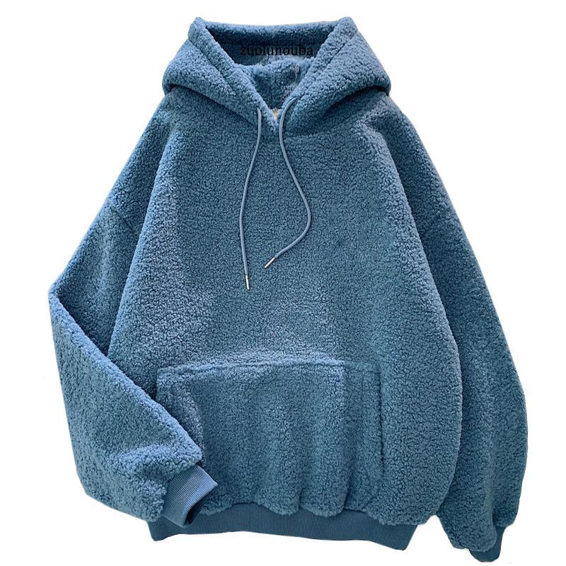 Autumn Winter Thick Warm Coat Velvet Cashmere Women Hoody Sweatshirt Solid Blue Pullover Casual Tops Lady Loose Long Sleeve Women's Hoodies