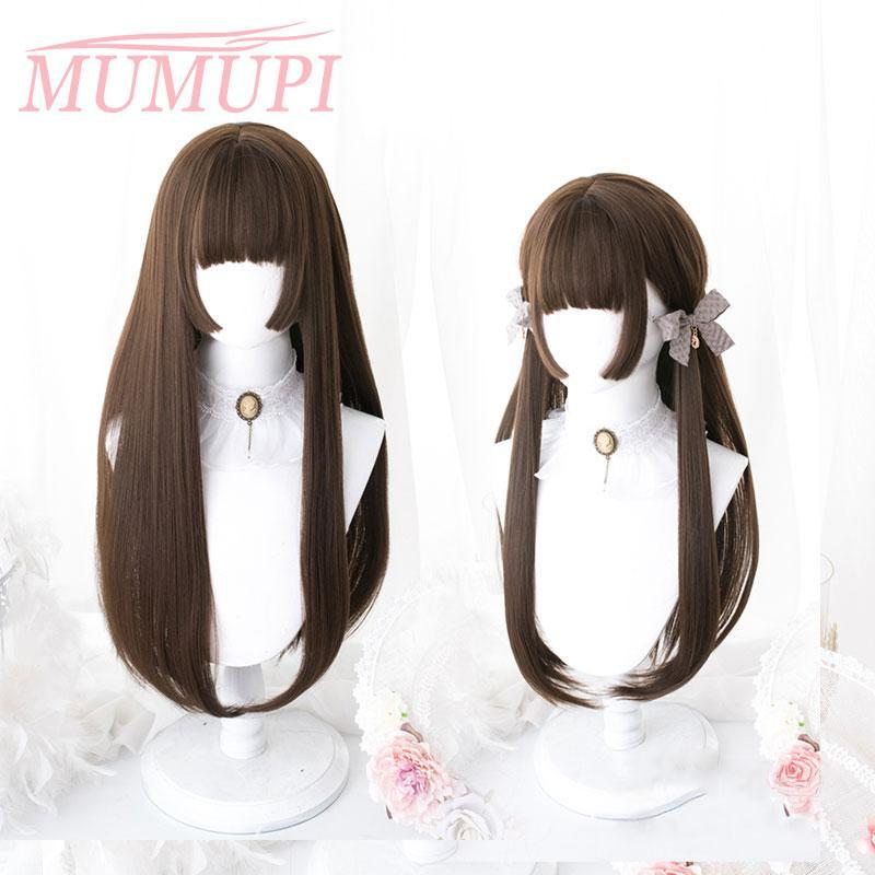 Lolita Wigs Synthetic Pink Long Straight Hair With Bangs HimeCut Ombre Blue Black White Red Party Wig For Women