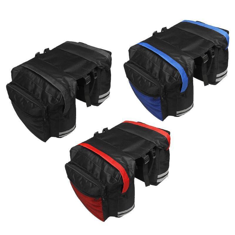 Siyah Bisiklet Bisiklet Eyer Çanta Bisiklet Çantaları PVC ve Naylon Su Geçirmez Çift Yan Arka Raf Kuyruk Koltuk Çanta Pannier Bisiklet Aksesuarları 13 W2