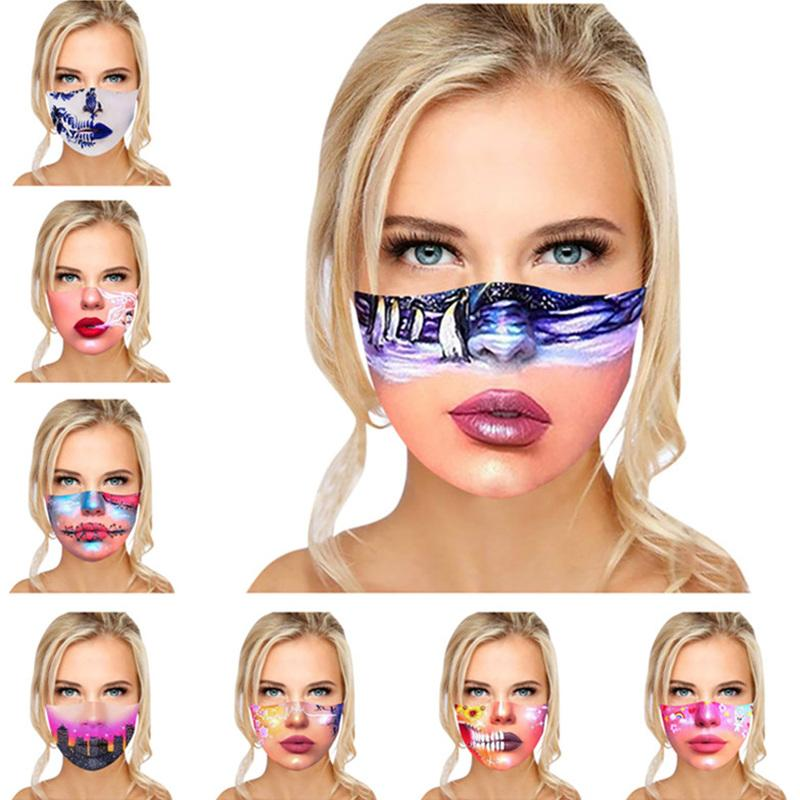 3D Druck Designer Gesichtsmasken Frauen Mädchen Lustige Ausdruck Gedruckt Staubdichter Anti-Nebel Gesichtsmaske Baumwolle Waschbare langlebige Mode Mundabdeckung 8 Farben