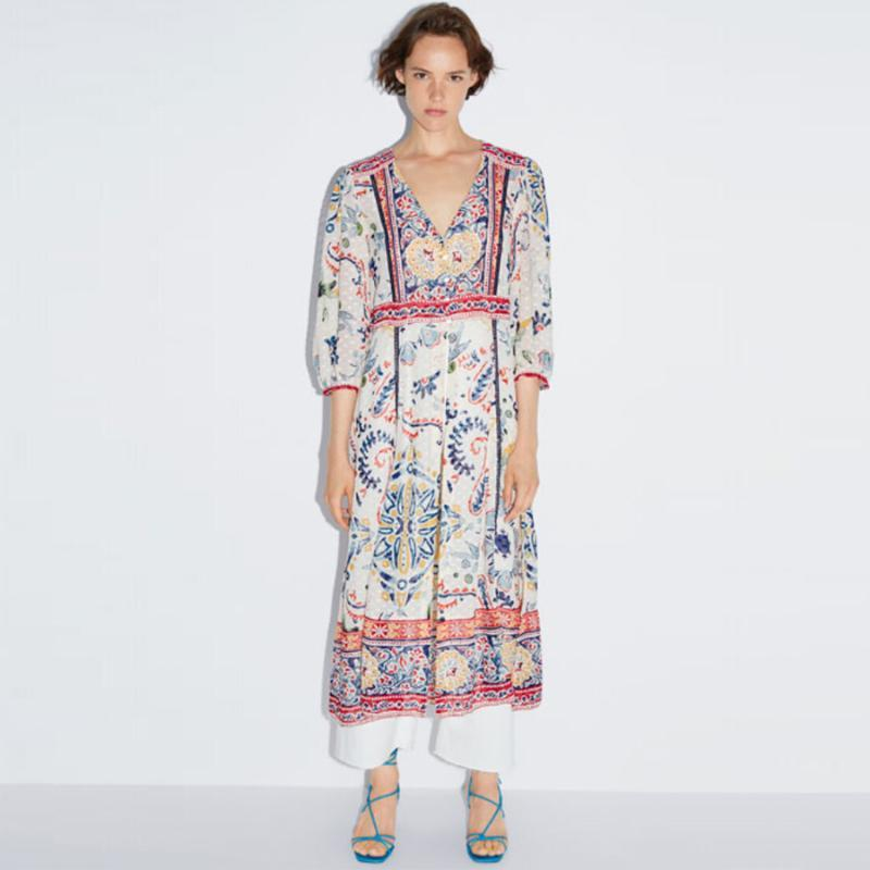 MIDI Boho Elbise Vintage Polka Dot Jakarlı Kumaş Çiçek Baskı Şifon Elbiseler V Boyun Sonbahar Hippi