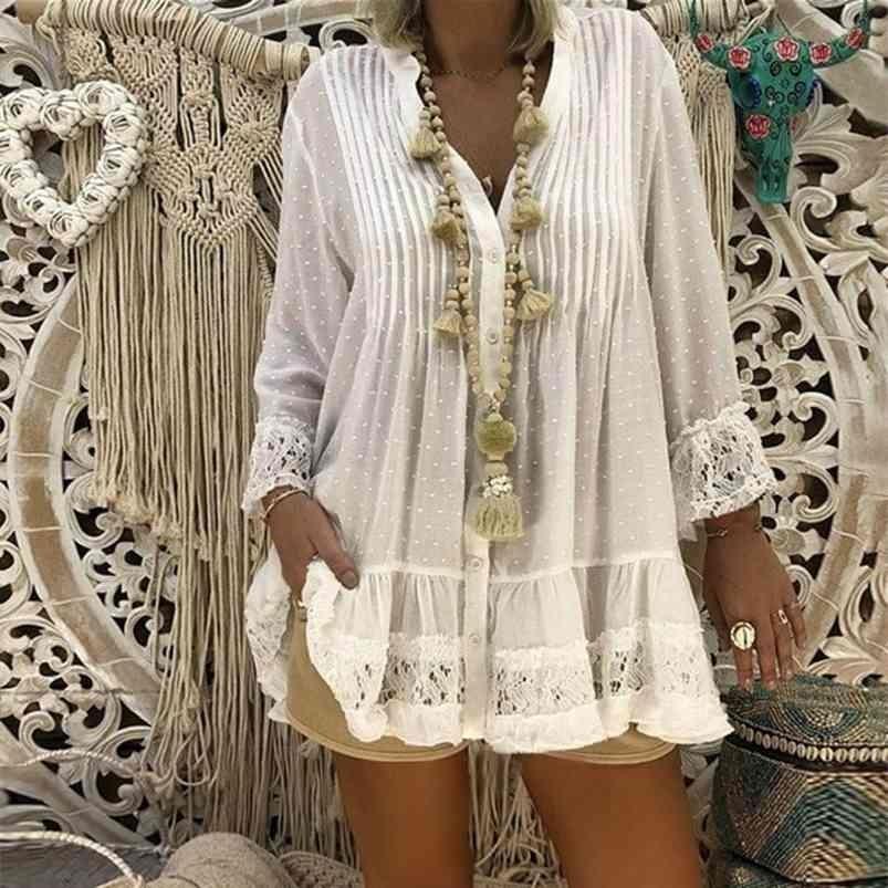 5XL плюс размер белый кружевной блузка женщины лето V шеи с длинным рукавом шифоновая блузка рубашка большие размеры свободные женские тунические вершины 210415