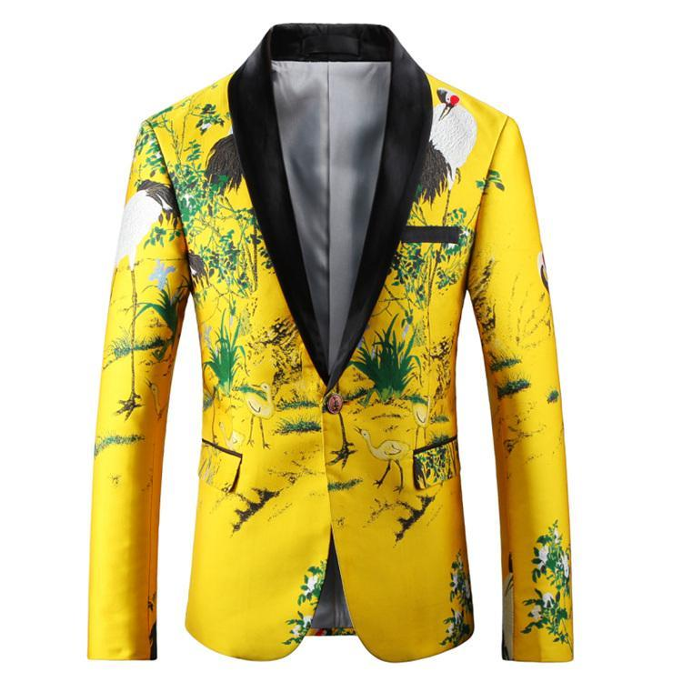 Black Yellow Blazer Hommes Slim Fit Fit Floral Broderie Jacket Collier Casual Costune Casual Mens Prom