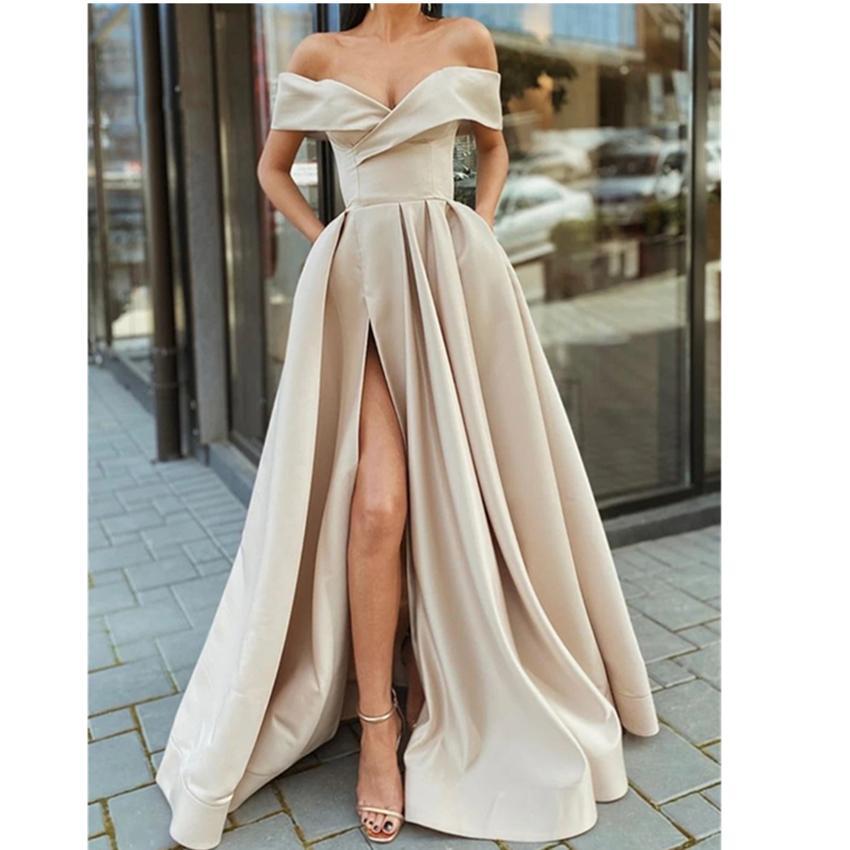 Off the Shoulder Champagne High Slit Long Prom Dresses V-neck Floor Length Arabic Evening Gowns robe de soiree