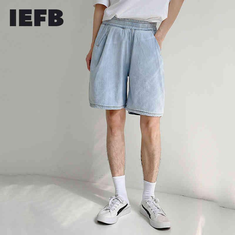 IEFB Denim Shorts Men's Summer Thin Air Conditioning Knee Length Pants Loose Straight Elastic Waist Korean Fashion Cloth 9Y7578 210524