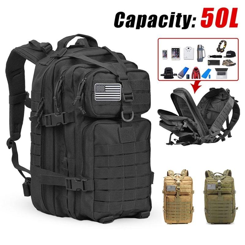 50L Männer Armee Mochila Militar 3P Softback Kapazität Taktischer Rucksack Outdoor Wasserdichter Rucksack Sport Wandern Camping Jagdtasche 210310