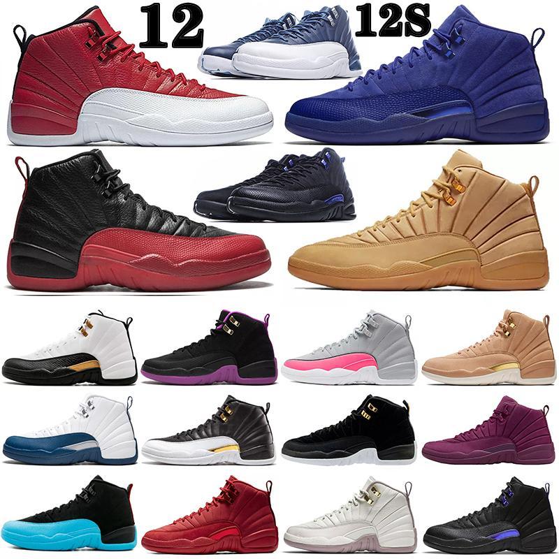 Air Jordan 12 12s Retro shoes Top Qualité Pâques Hommes Chaussures basketball Cours de 2003 Deep Royal Blanc Rouge Français Blue Blue Hivernisée Michigan Midigan Midnight Sneakers