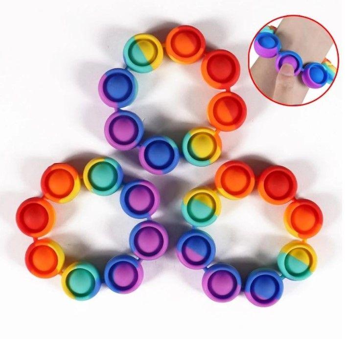 Fidget Braccialetto Religiver Stress Toys Rainbow Bubble Antistress Toy Bambini adulti Sensoriale per alleviare Autism 4Colors