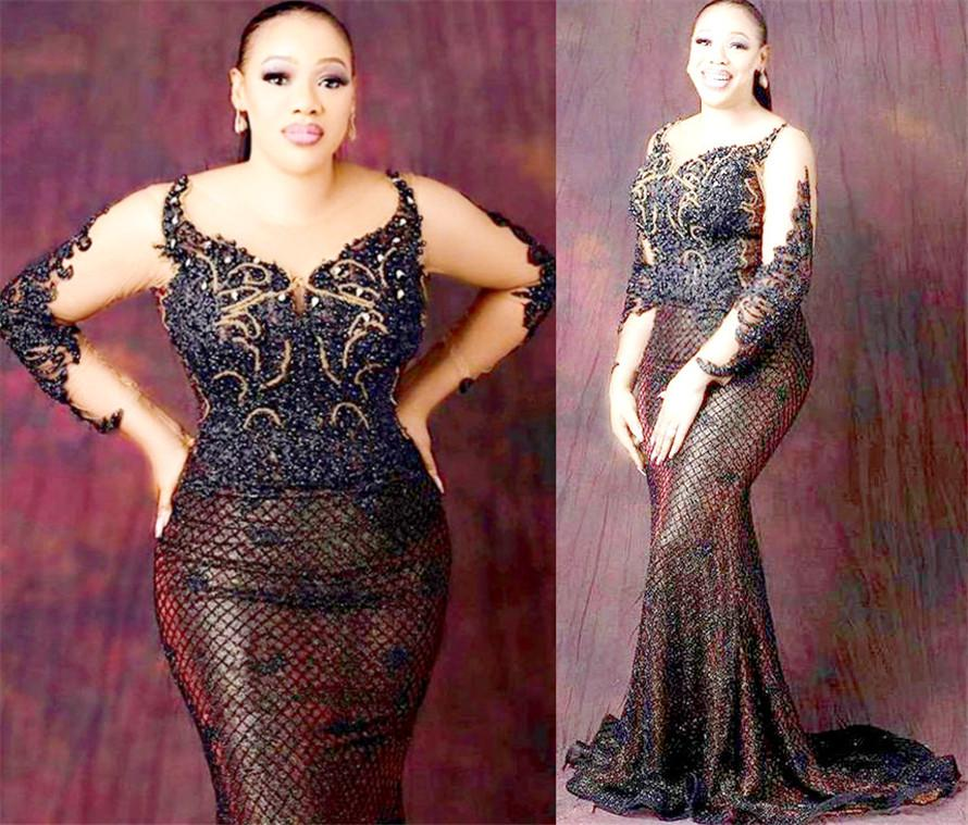 2021 Plus Size Arabic Aso Ebi Luxurious Mermaid Sexy Prom Dresses Lace Beaded Sheer Neck Evening Formal Party Second Reception Gowns ZJ456