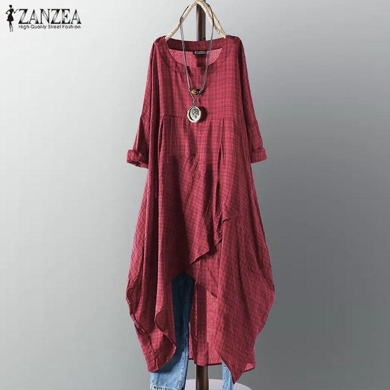 Zanzea Asymmetrical Dress Midi Dress Delle Donne Dress Dress 2021 Femmina a maniche lunghe Plaid Vestidos Summer Summer Saless Camicia casual Robe 5XL