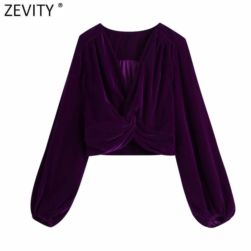 Femmes Mode V Col V Noué Short Velvet Smock Blouse Bureau Dames Fermeture Zipper Kimono Chemise Chic Blusas Tops LS7419 210420