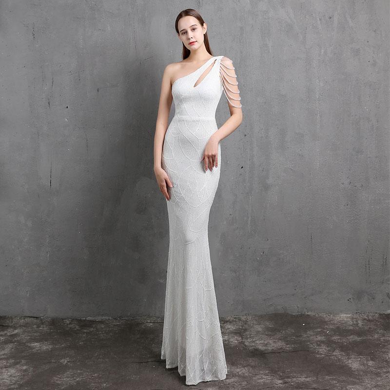 이브닝 드레스 원 슬리브 술 트리플 엑스 루이스 루이스 바닥 길이 백리스 머메이드 플러스 사이즈 여성 공식 파티 가운 C497 드레스