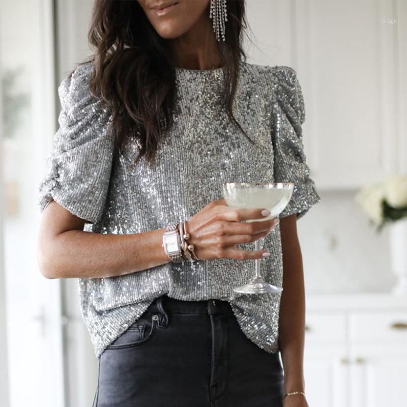 1Women Pullu Bluzlar Yaz Parti Seksi Bling Uzun Kollu Katı Üst Blusas Mujer De Moda Harajuku Gömlek Bluz1