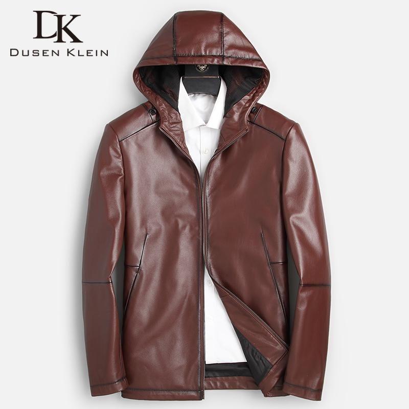 Quality DK Top Cowhide Cuir Veste Hommes Loisirs Hoodé Vêtements véritables Vêtements automne Vin rouge Choses d'Outwear Manteaux Faux
