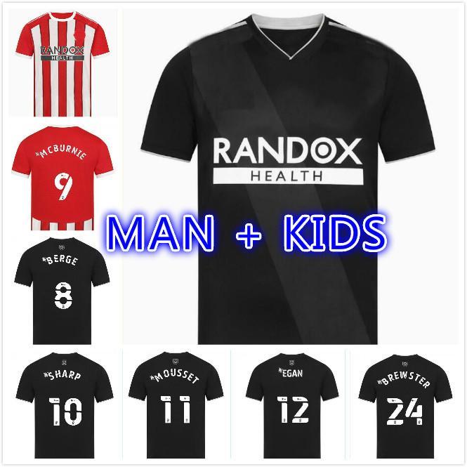 Adam Çocuk Seti 21 22 Sheffield Futbol Formaları Berge Mousset Birleşik Ev Uzakta Üçüncü 2021 2022 Siyah McBurnie Lundstram Fleck Futbol Gömlek Norwood Sharp Jersey