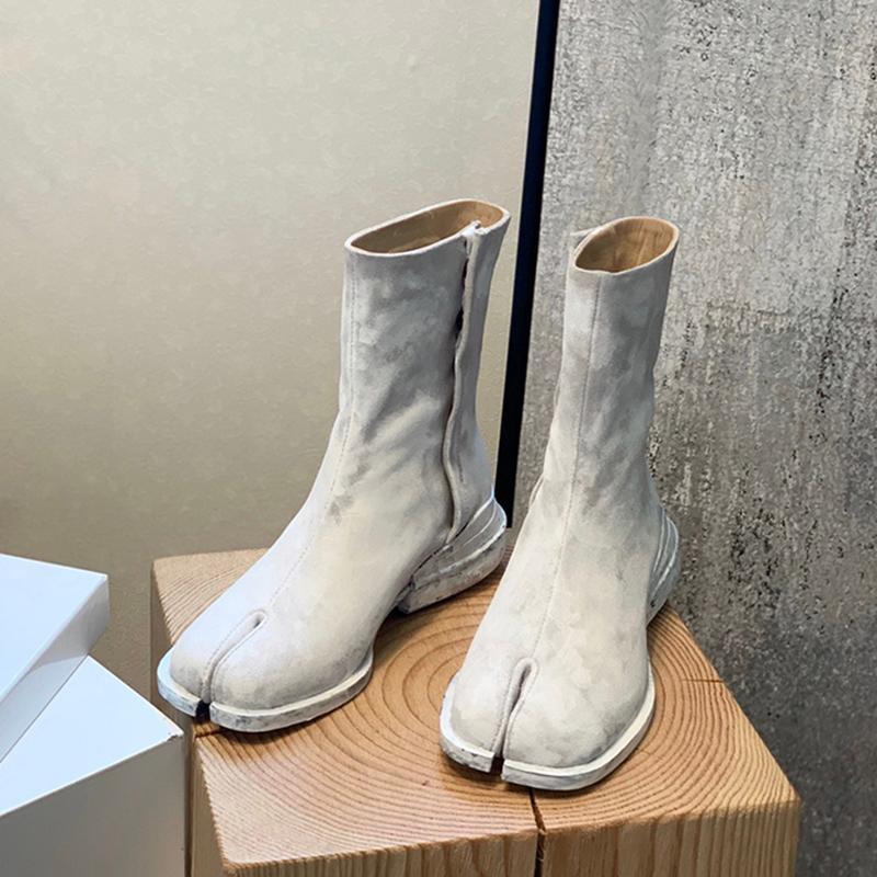 Spring Flat Tabi Split-Toe Boots Женская прозрачная подушка лодыжки Botas Mujer 2021 вечеринка Zapatos Femenino