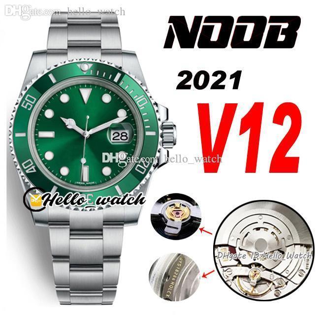Топ 2021 N 40 мм V12 116610 SA3135 Автоматические мужские часы Зеленая керамика BEZEL и циферблат 904L Стальной браслет Ultimate Super Edition (правильный амортизатор) Hello_Watch