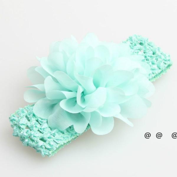 Favorito de fiesta bebé cabezal cabeza accesorios de pelo de flores de 4 pulgadas de flores de gasa con diademas de crochet elásticos suaves, elástico EWE5649