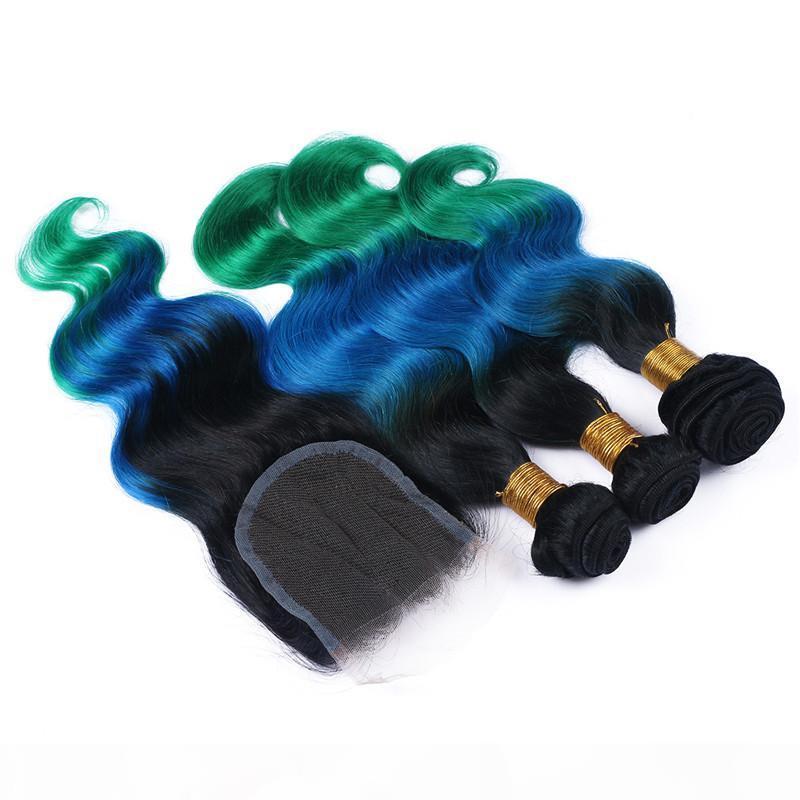 1b bleu vert ombre 4x4 dentelle fermeture avant avec 3bundles vague de corps vierge péruvienne trois tons ombre cheveux humains tisse avec fermeture en dentelle