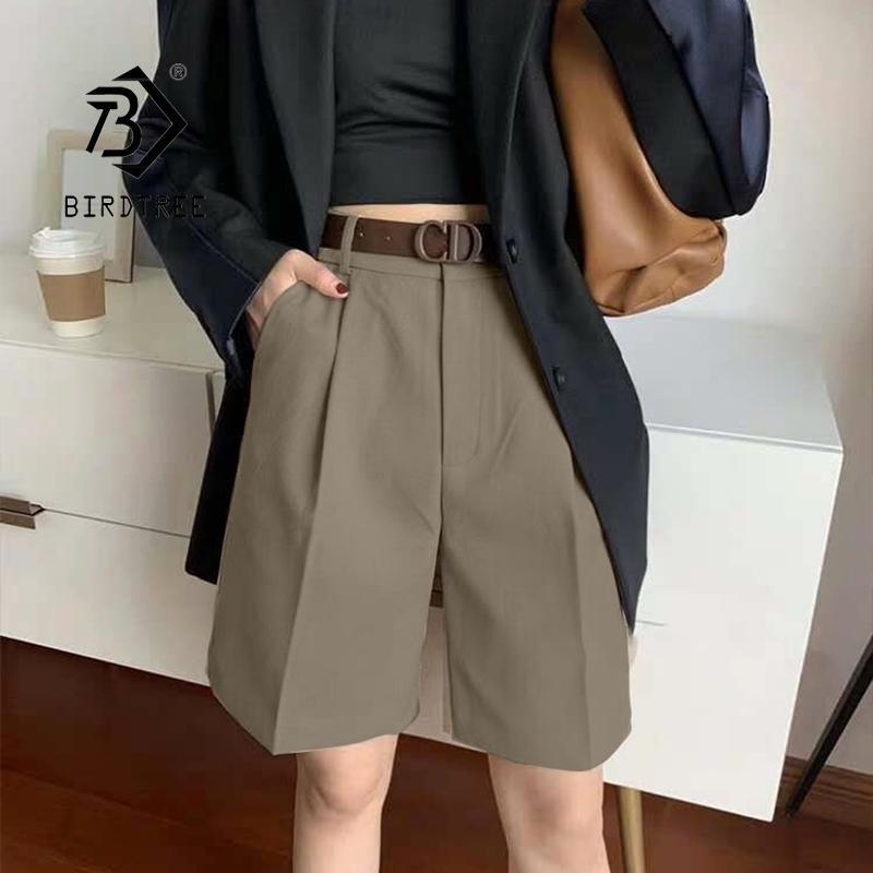 Été Élégant Taille haute Short Femmes Casual Solide Heak Jambes Loable Plus Taille S-4XL Suit Half Pants Filles B14318X 210416