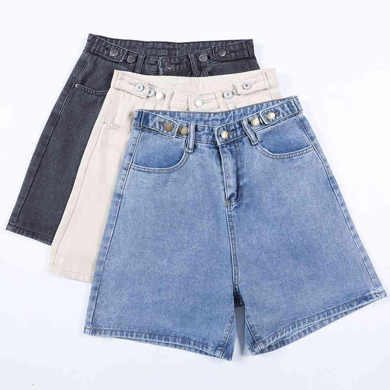 Jeans de piernas anchas para mujer infrmal High Cintura SHRTS LSE CUT CUT BLUE Verano