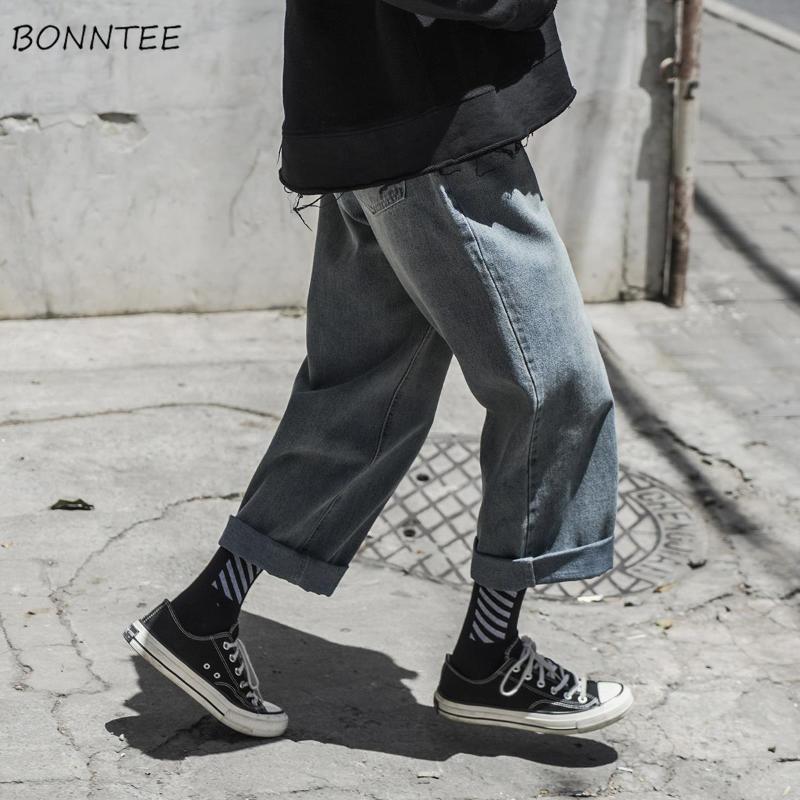 Jeans Mann Breite Beinhose Chic Solid Retro Lose Große Größe 3XL Mens Harajuku Freizeit Ins Ulzzang Streetwear Einfache Allgleiche Männer