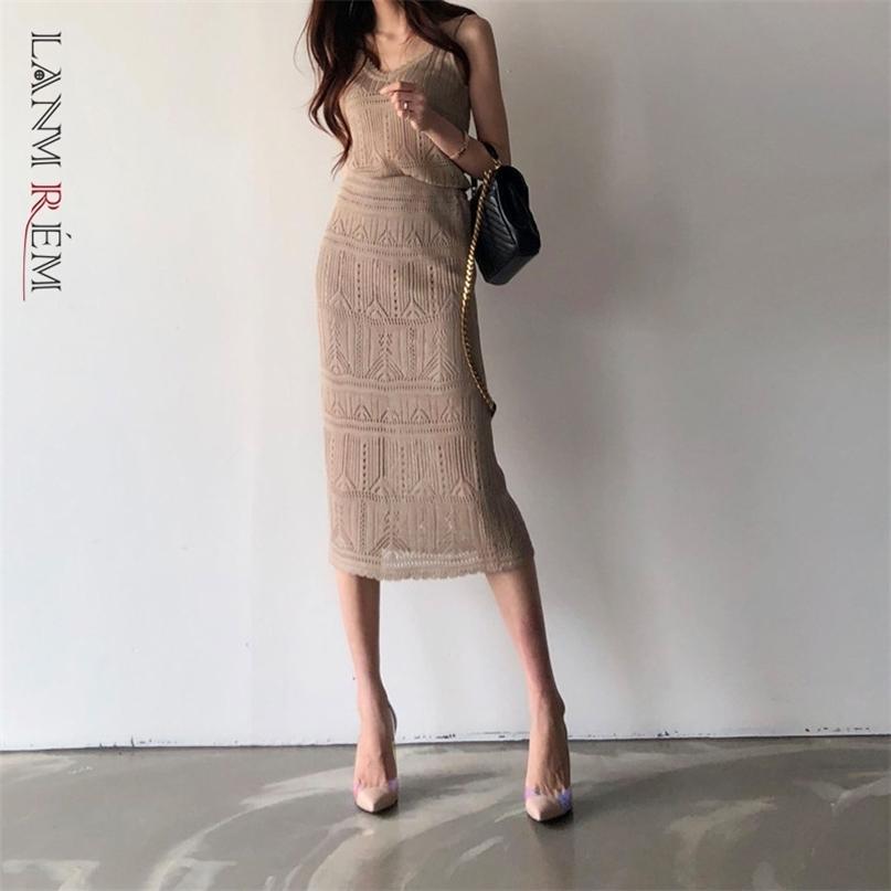 Slim Blanc Kaki Crochet Crochet Hollow Hollow Robe Sexy Col V-Col Vean Streetwear 2D1260 210526
